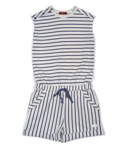 7 For All Mankind Night Stripe Romper W/ Snap Sleeves Off White/Blue
