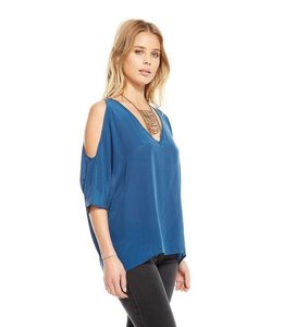 Chaser Women Chaser Cols Shoulder Oversized Silk Shirt Blue