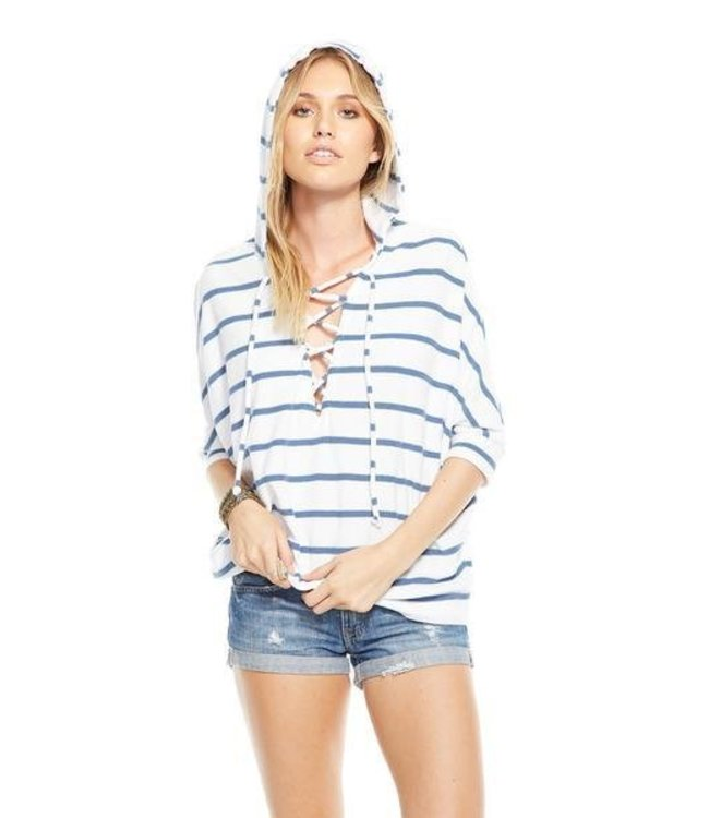 Chaser Women Chaser L/S Stripe Lace Up Hoodie White/Blue