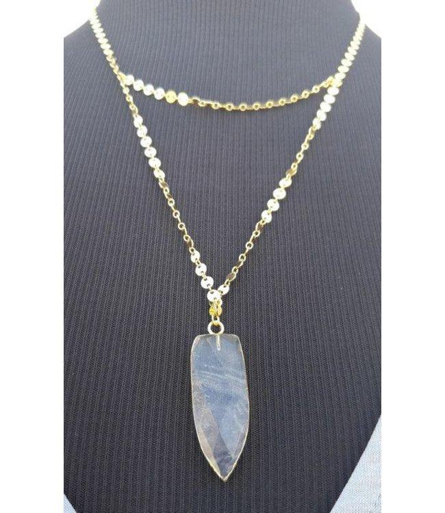Gem Clear Arrowhead Necklace