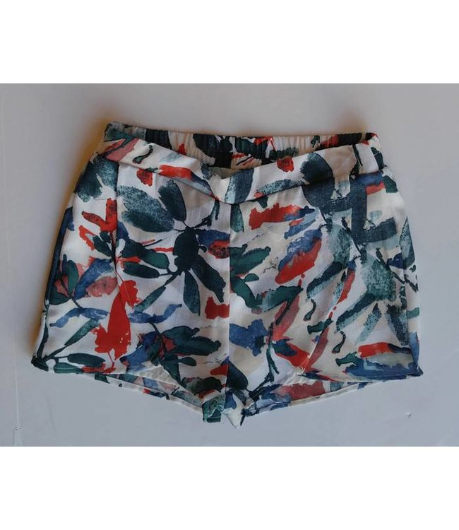 PC Front Overlap Printed Shorts Ivory/Multi