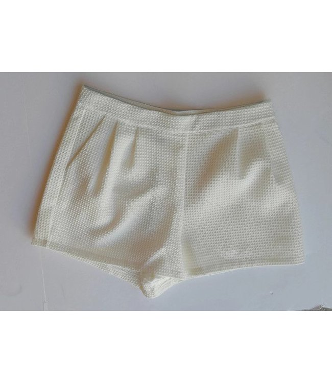 She + Sky Textured Fabric Pleated Shorts Off White