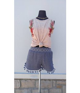 PC Embroidered Smocking W/Tassel Shorts Navy