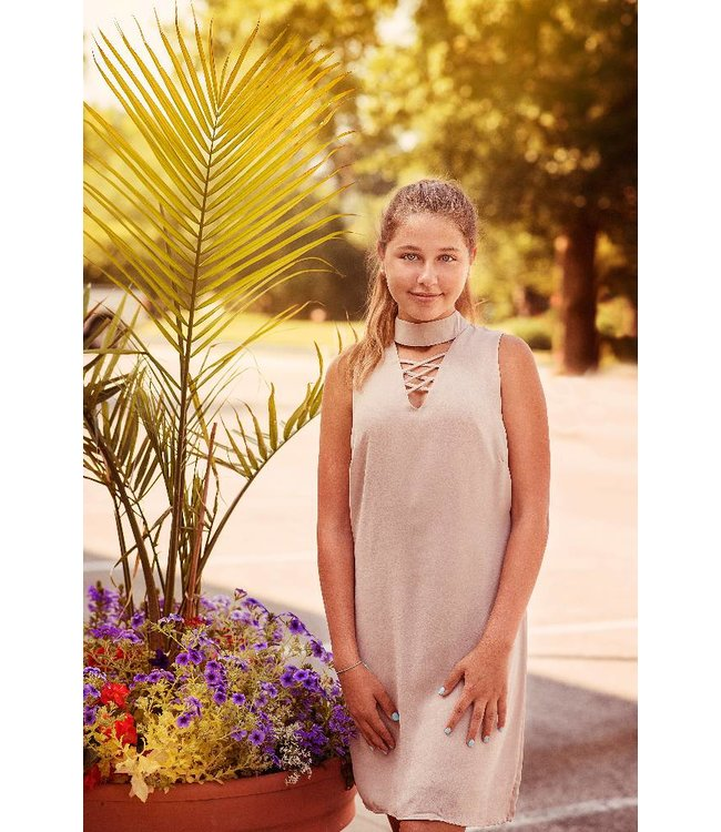 She + Sky Choker Style Fitted Dress in Taupe