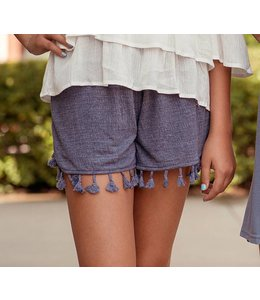 Ebroidered Smocked Shorts with Tassels by PC