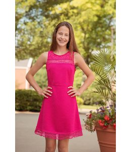 She + Sky Fit And Flare Dress W/ Lace Trim in Fushia