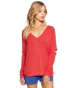 Mickey And Jenny Mickey And Jenny L/S Cold Elbow V-Neck Shirt Cayenne