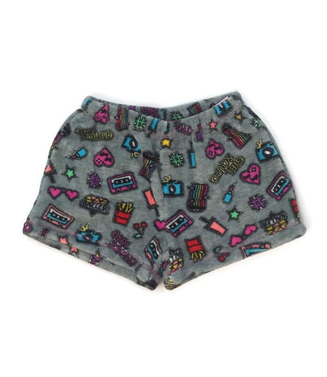 Malibu Sugar Malibu Sugar Fuzzy Short Girl Gang Grey/Multi