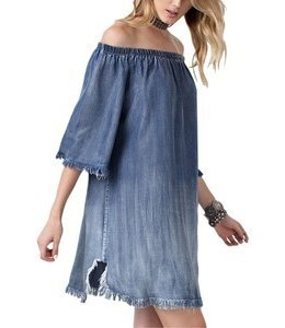 1 Mad Fit Off Shoulder Dress Distressed Washed Denim