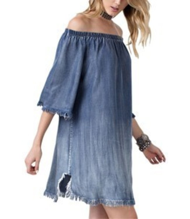 1 Mad Fit Off Shoulder Dress Distressed Washed Denim
