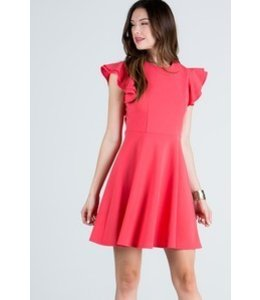 Avenue Hill Round Neck Tunic Dress Salmon