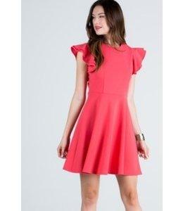 Round Neck Tunic Dress Salmon