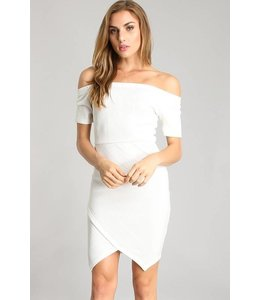 Faith Apparel Off Shoulder Uneven Hem Dress Ivory