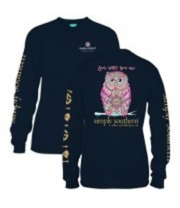Simply Southern Simply Southern L/S Whoo Shirt Navy