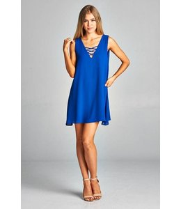 Caramela Inc. Solid V Neck Lace Up Dress Royal Blue