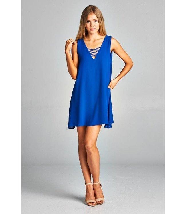 Caramela Inc. Solid V Neck Lace Up Dress Royal Blue