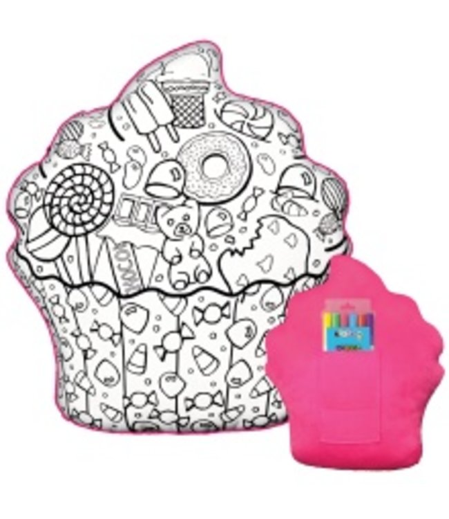 iScream Iscream Cupcake Color Me Pillow W/ Markers Multi
