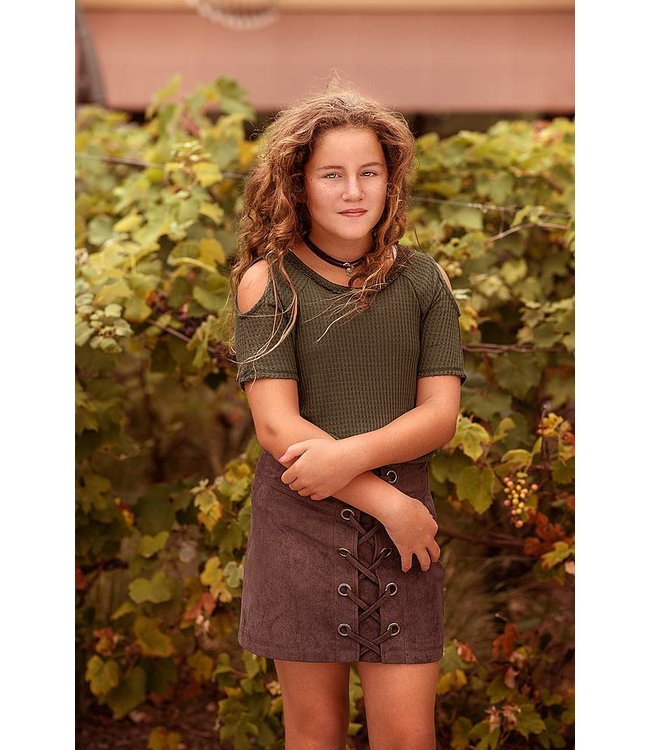 PPLA Tween PPLA Karina Cold Shoulder Knit Top Olive