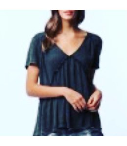 PC Garment Washed V Neck Tee W/ Shirring Black