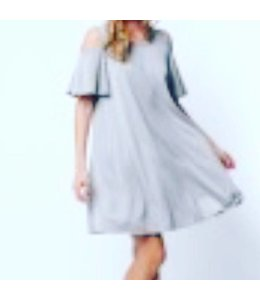 PC Cupro Cold Shoulder Dress Grey