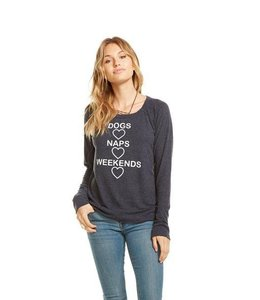 Chaser Women Chaser L/S Love Knit Dogs Naps Weekends Pullover Avalon