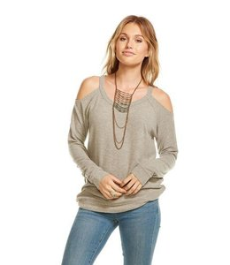 Chaser Women Chaser L/S Love Knit Cold Shoulder Raglan Grey