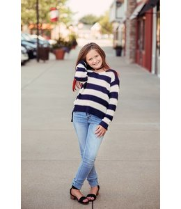 PPLA Tween PPLA Gracen Knit Sweater Navy/Ivory