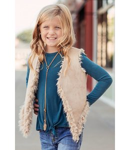 Tru Luv Tru Luv Suede & Fur Vest Light Brown