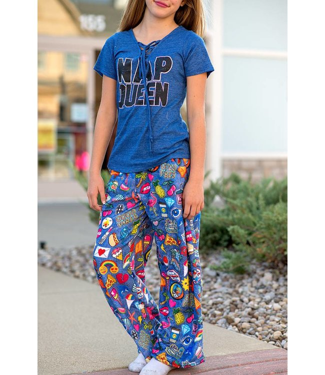 iScream Iscream Fuzzy Pant Embroidered Patches Photoreal Blue/Multi