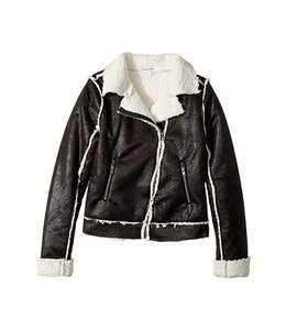 Splendid Splendid Coated Sherpa Bomber Jacket Black/White