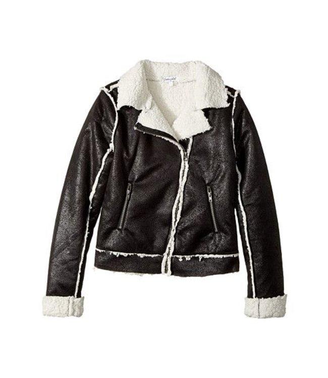 Splendid Splendid Coated Sherpa Bomber Jacket Black/White