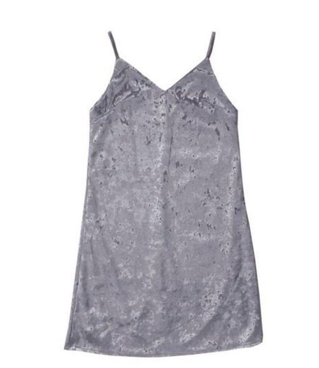 Malibu Sugar Malibu Sugar Crushed Velvet Cami Dress Silver Grey