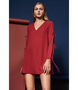 L/S Jayson Tie Mini Dress Crimson