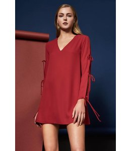 Orbit 7 Clothing L/S Jayson Tie Mini Dress Crimson
