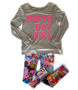 Malibu Sugar Malibu Sugar L/S Happy Birthday Shirt Grey/Hot Pink