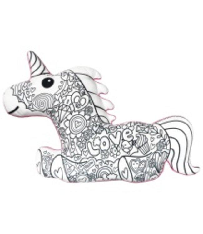 iScream Iscream Unicorn Color Me Pillow W/ Markers Multi