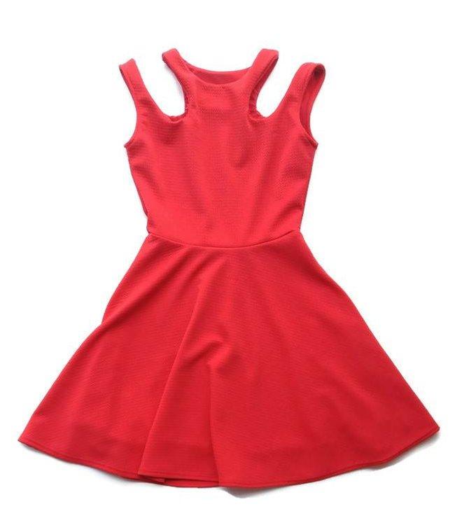 Cut Shoulder Skater Dress Red
