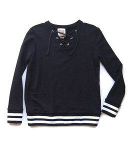 Kiddo Kiddo L/S Lace Up Sweatshirt Black/White