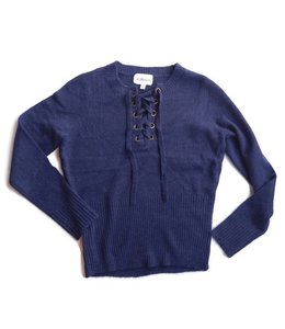 Olive & Oak Olive & Oak L/S Lace Up Sweater Deep Sea Blue