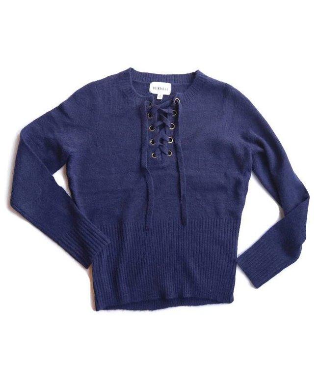 Olive & Oak Olive & Oak L/S Lace Up Sweater Deep Sea Blue