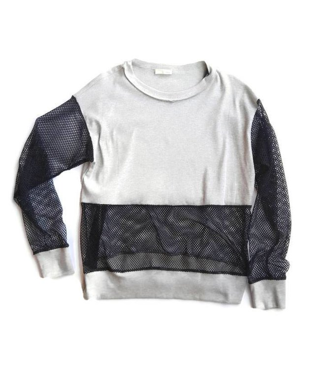 Jella C. L/S Inserted Fishnet Top Grey/Black