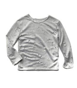 Cheryl Creations Tweens L/S Hole Shirt Light Grey