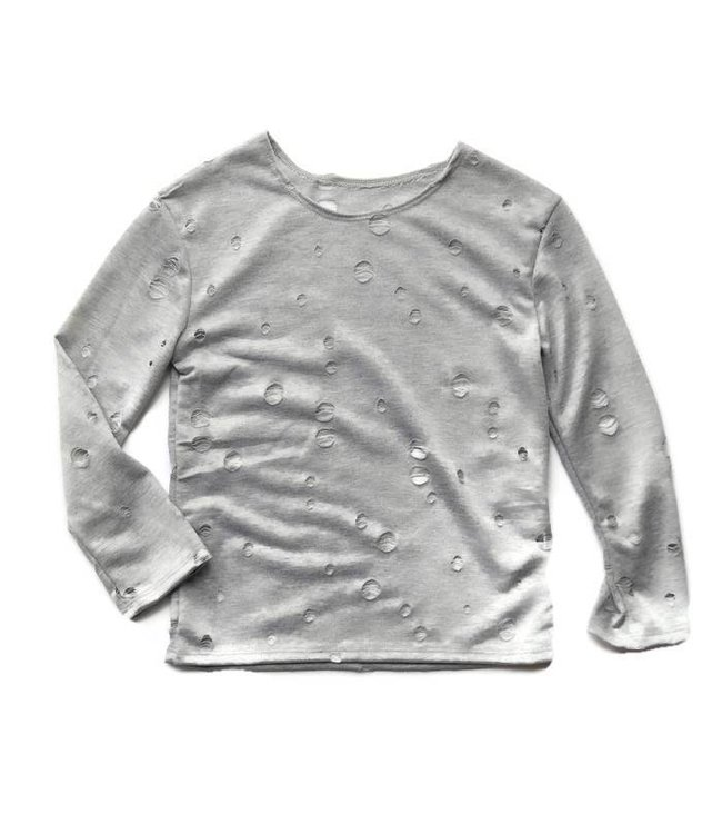 Cheryl Creations Tweens L/S Hole Shirt Light Grey