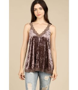 POL Clothing Velvet Lace Camisole Top Mocha