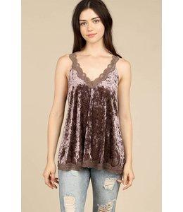 Velvet Lace Camisole Top Mocha