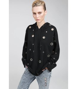 POL Clothing L/S Oversizes French Terry Hoodie W/ Eyelets Black