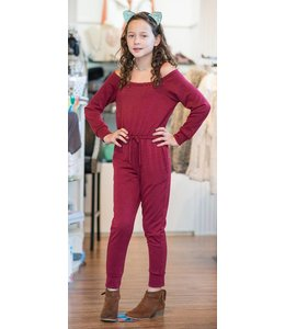 Tru Luv Tru Luv L/S Cold Shoulder Jumpsuit Wine