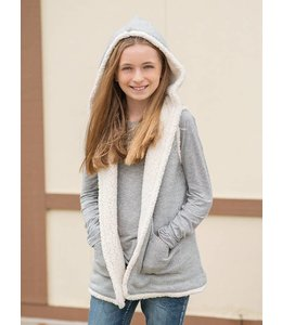 Splendid Hooded Sherpa Vest Grey/Cream