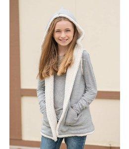 Splendid Splendid Hooded Sherpa Vest Grey/Cream