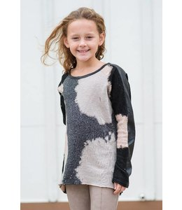 Tru Luv Tru Luv Distressed Raglan Sleeved Tunic Brown/Black